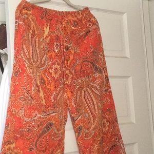Lauren Gorgeous Paisley Drawstring Pants M.